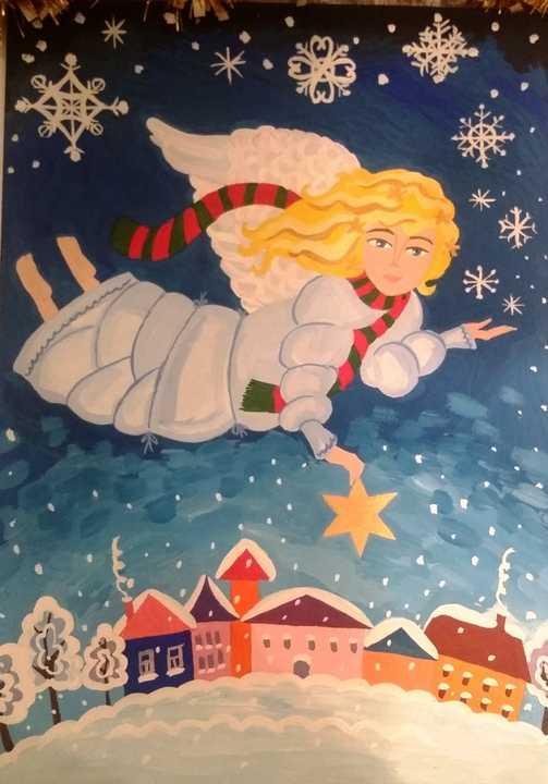 Детский конкурс рождественской открытки, картинка большими